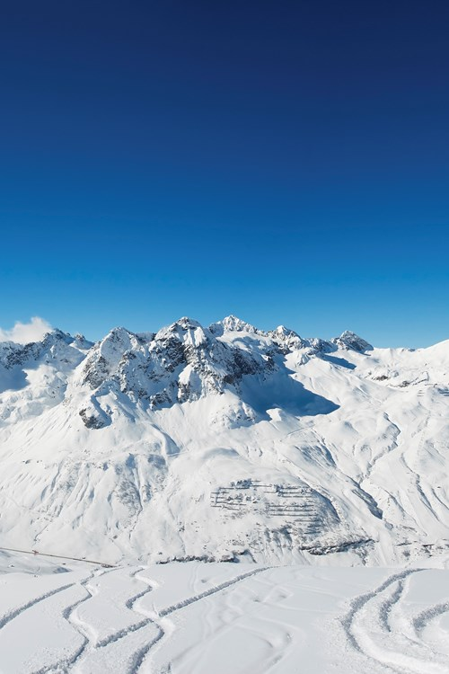 St Anton ski weekends wide view mountains with ski tracks