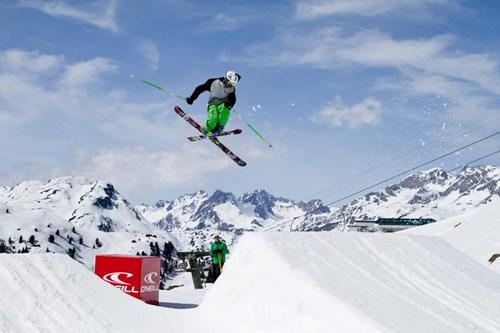 rendl beach skier jump trick on ramp