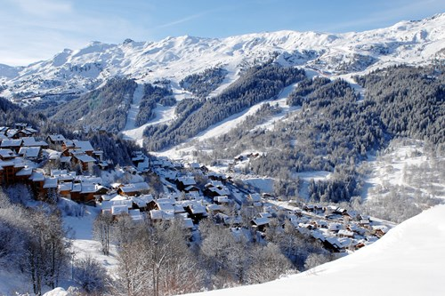 View of Meribel village from above, ski weekends in Meribel