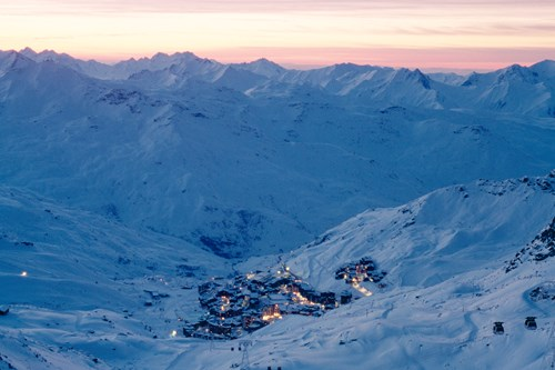 val thorens town night view ski weekends