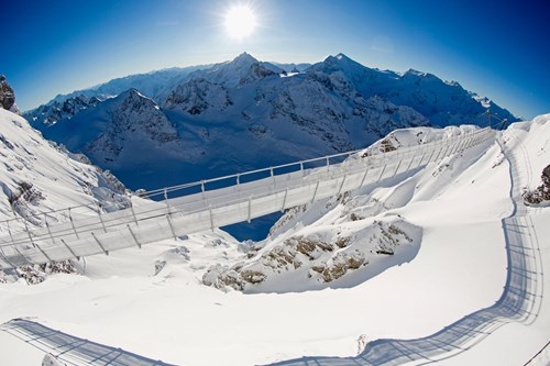 Engelberg suspension bridge-skiing in Switzerland
