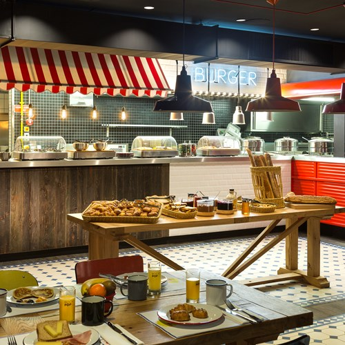 Breakfast Buffet at the Rocky Pop Hotel in Chamonix ski town.