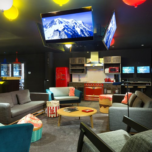 The lobby of the Rocky Pop Hotel Chamonix. Relaxed chill out area.