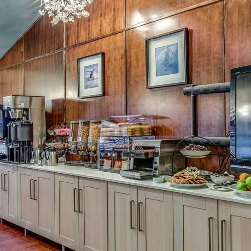 The Listel Hotel, continental breakfast buffet, ski accommodation in Canada
