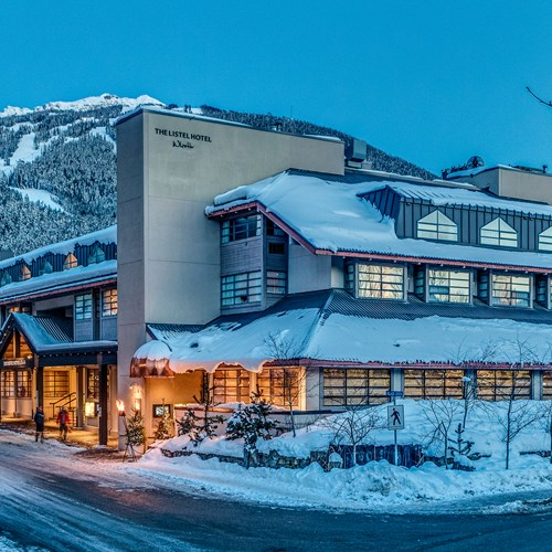 The Listel Hotel, snowy exterior, ski accommodation in Canada