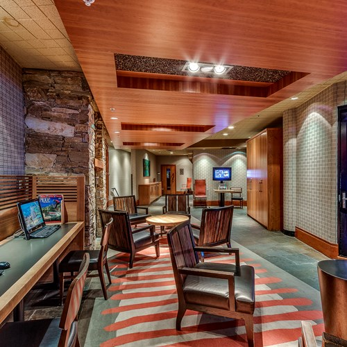 The Listel Hotel, lobby next to Ice Room, ski accommodation in Canada