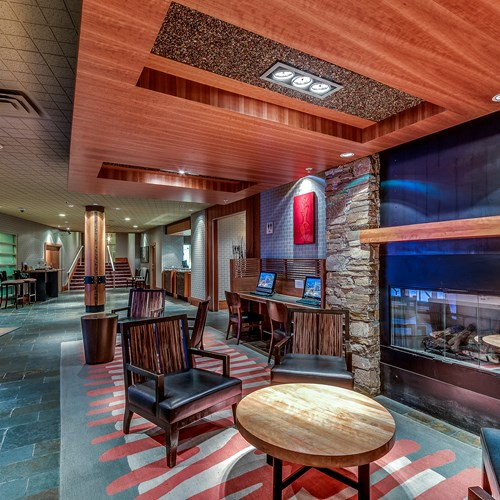 The Listel Hotel, lobby with fireplace, ski accommodation in Canada