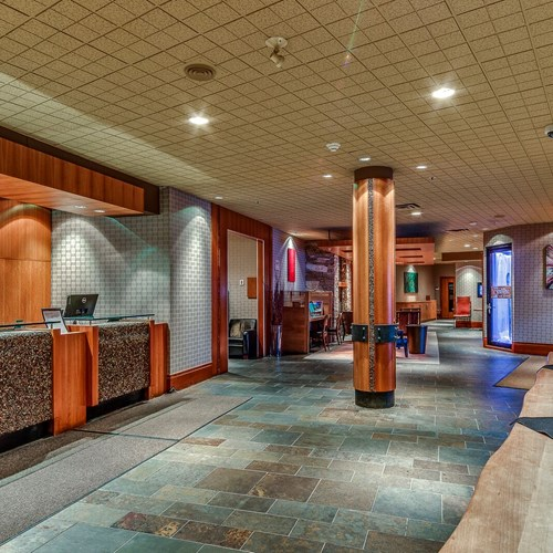 The Listel Hotel, lobby with reception, ski accommodation in Canada