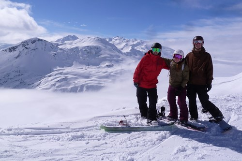 best ski runs with a view in st anton, group of snowboarders