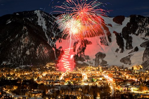New Year's Eve Fireworks in the mountains