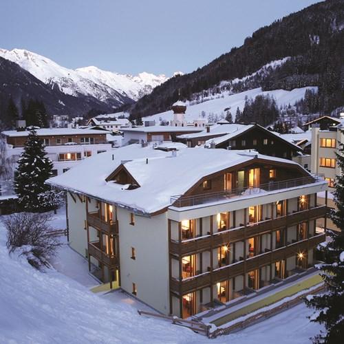 Hotel Banyan, ski accommodation in St Anton, Austria. Snowy exterior