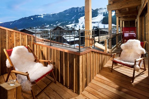 Deckchairs on the balcony at the Hotel Kitzhof, Ski accommodation in Kitzbuhel, Austria