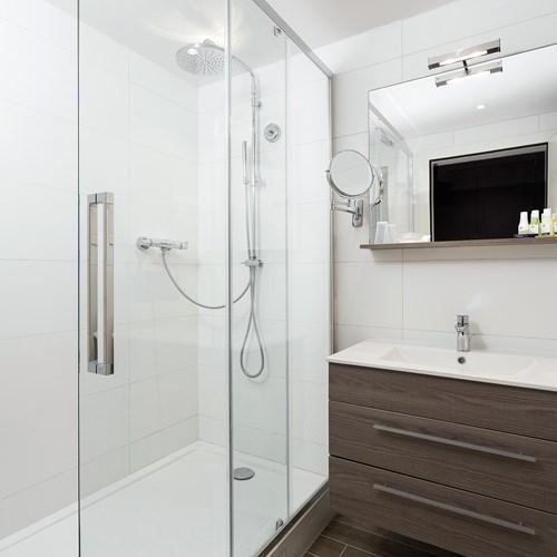 shower room at Hotel Le Mottaret, ski hotel in Meribel ski resort