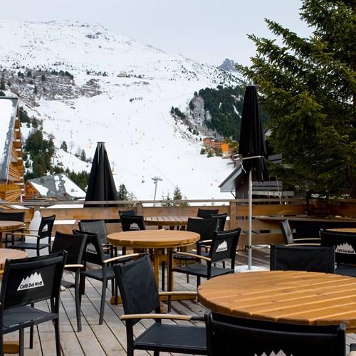 sun terrace of Hotel Le Mottaret, ski hotel in Meribel ski resort
