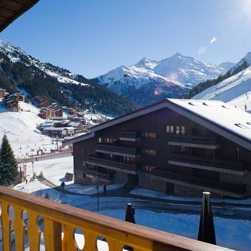 view from the balcony at Hotel Le Mottaret, ski hotel in Meribel ski resort