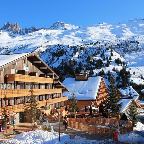 Hotel le mottaret, meribel ski resort-hotel exterior in snow