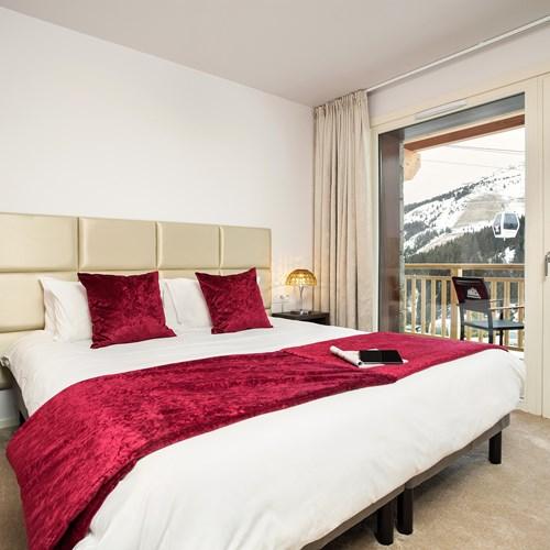 Red room at the Hotel Le mottaret in Meribel ski resort