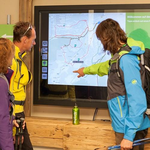 Interactive board at Explorer Hotel, ski accommodation, St Johann, Austria