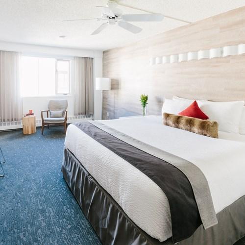 Elk + Avenue Hotel, contemporary ski hotel, Banff, Canada. King double room