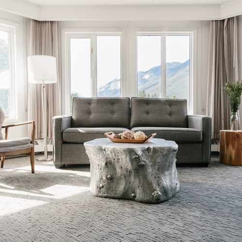 Elk + Avenue Hotel, contemporary ski hotel in Banff - living area with sofa