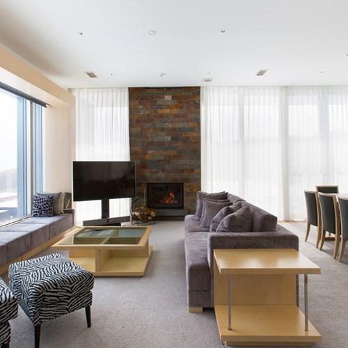Ski Hotel Chalet Ivy-Niseko-Ski Japan-lounge and dining area with fireplace