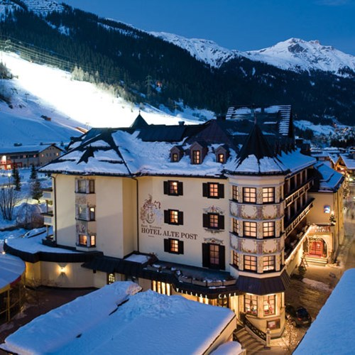Hotel Alte Post, ski accommodation St Anton, Austria. Snowy exterior