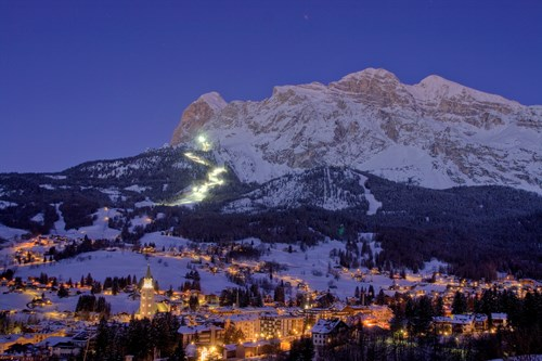 cortina town luxury ski breaks resort view at night