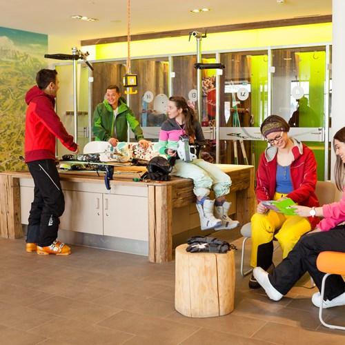 Lockers and ski station at Explorer Hotel, ski accommodation in St Johann
