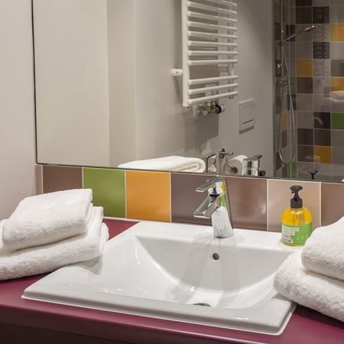 Ensuite in room at Explorer Hotel, ski accommodation, Austria