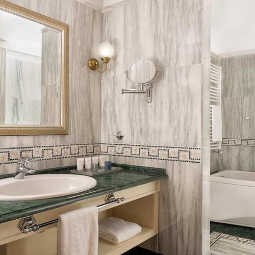 bathroom at the Hotel Cristallo in Cortina, Italy