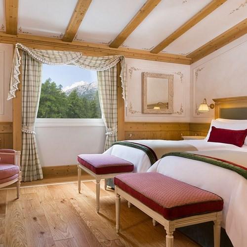 twin beds at Hotel Cristallo in Cortina, Italy ski