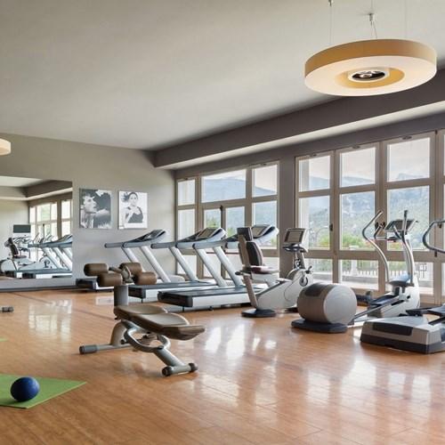 gym at the Hotel Cristallo in Cortina, Italy ski accommdoation