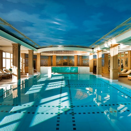 indoor pool at the Hotel Cristallo in Cortina, Italy