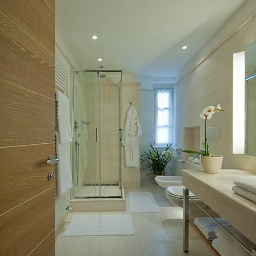superior bathroom at the Grand Hotel Savoia Cortina