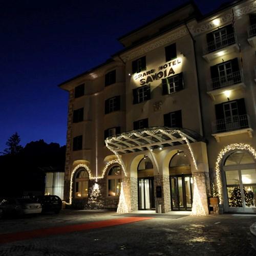 Grand Hotel Savoia Cortina exterior at night