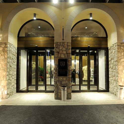 front doors of the Grand Hotel Savoia Cortina