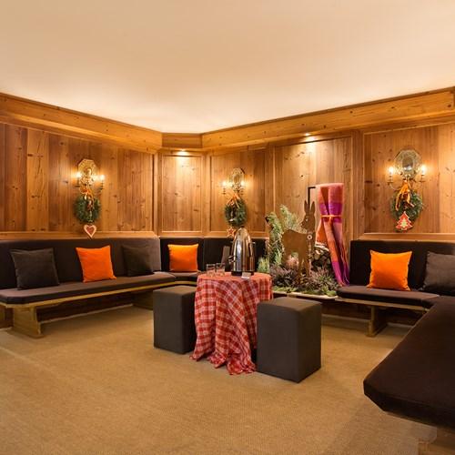 seating area at Hotel Cristallo in Cortina, Italy ski accommodation
