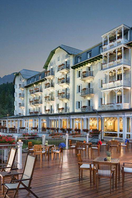exterior to the Hotel Cristallo in Cortina, Italy