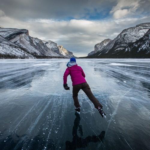 Ice skating on lake louise, multi centre