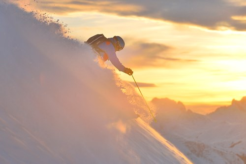 st anton skier in sunset