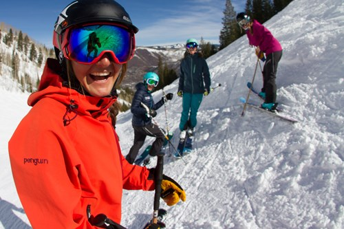 Aspen Snowmass USA Laughing on the piste