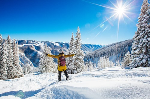Aspen Snowmass USA arms out blue sky