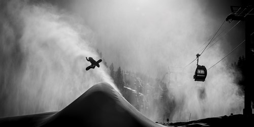 Aspen Snowmass USA snowboarder black and white
