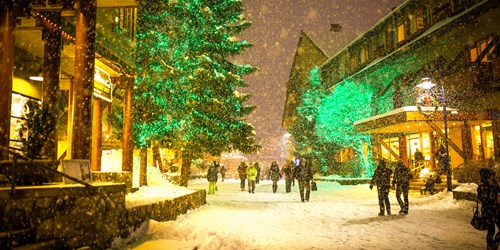 lit up Whistler village at New YEar