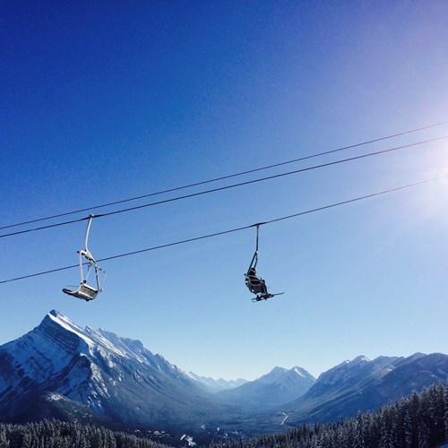 blue sky skiing in Banff