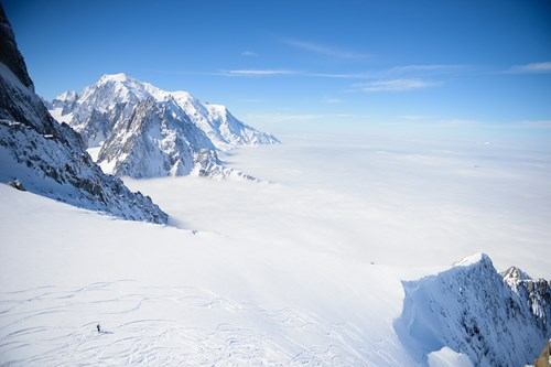 Chamonix ski weekends France view wide slope above cloud