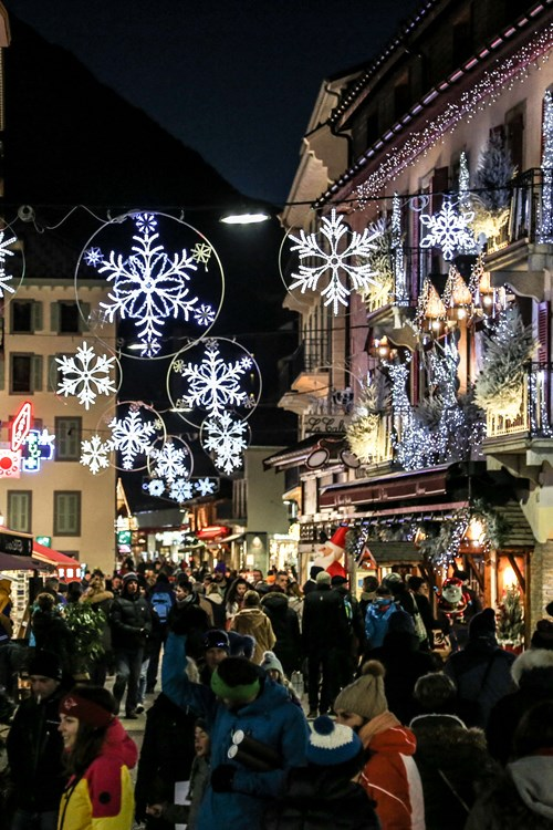 Chamonix ski weekends France Christmas town decorations