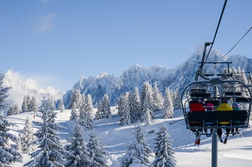 skiing in chamonix chairlift view