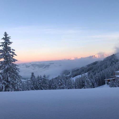 Kitzbuhel sunset snow