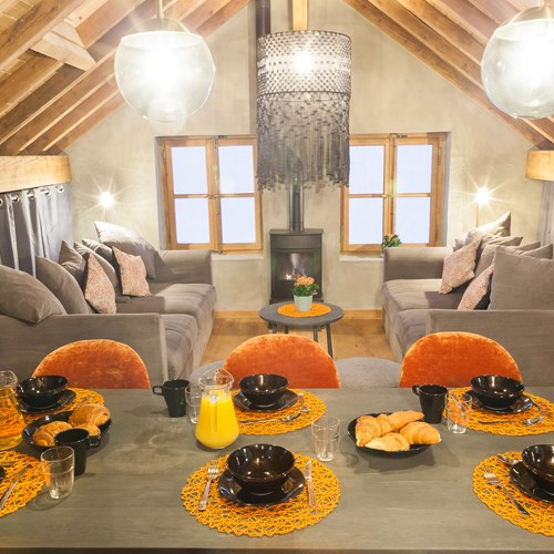 lounge and dining table of The Loft Chalet in Chamonix